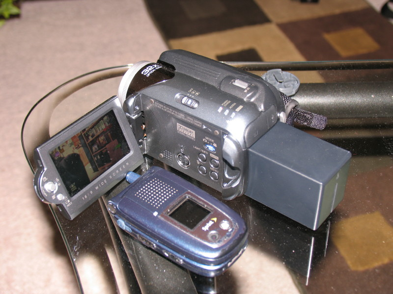 My new video camera with extended battery